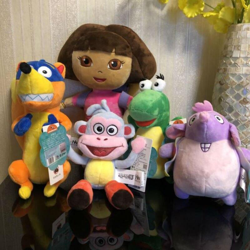 2019 genuíno dora the explorer brinquedo de pelúcia pré-jardim de infância brinquedos bonito dora botas de pelúcia boneca decorações festa alta qualidade