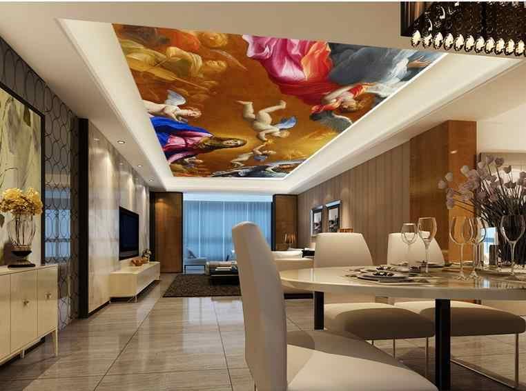 Personalize alta qualidade 3D teto-papel de parede-Anjos crianças 3d fotos murais teto da cozinha papel de parede no teto