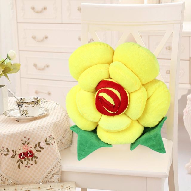 3D Rose Pillow Plush Toys Home Sofa Cushions Patchwork Flower Cusions  Pillow Wedding Party With Filling