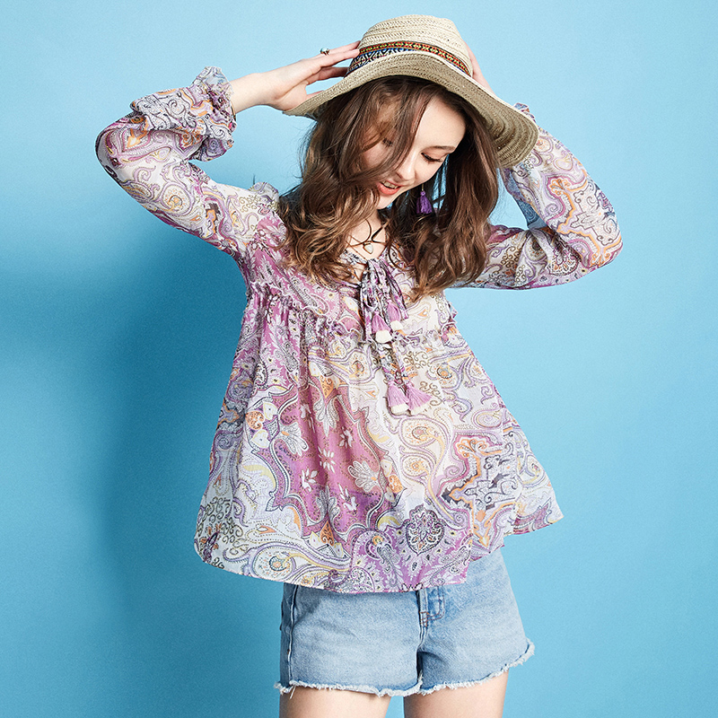 ARTKA 2019 Spring New Women Floral Shirt 100 Polyester Vintage Style Full Sleeve Tops Lady All