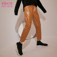 ELF SACK Winter Women PU Leather Pants Harem Womens Parchwork Punk Casual Pants Skinny Newest Pants