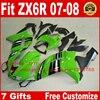 Hot Fairings For Kawasaki ZX6R Fairing Kits 2007 2008 Green Black Plastic Bodywork Parts ZX 6R