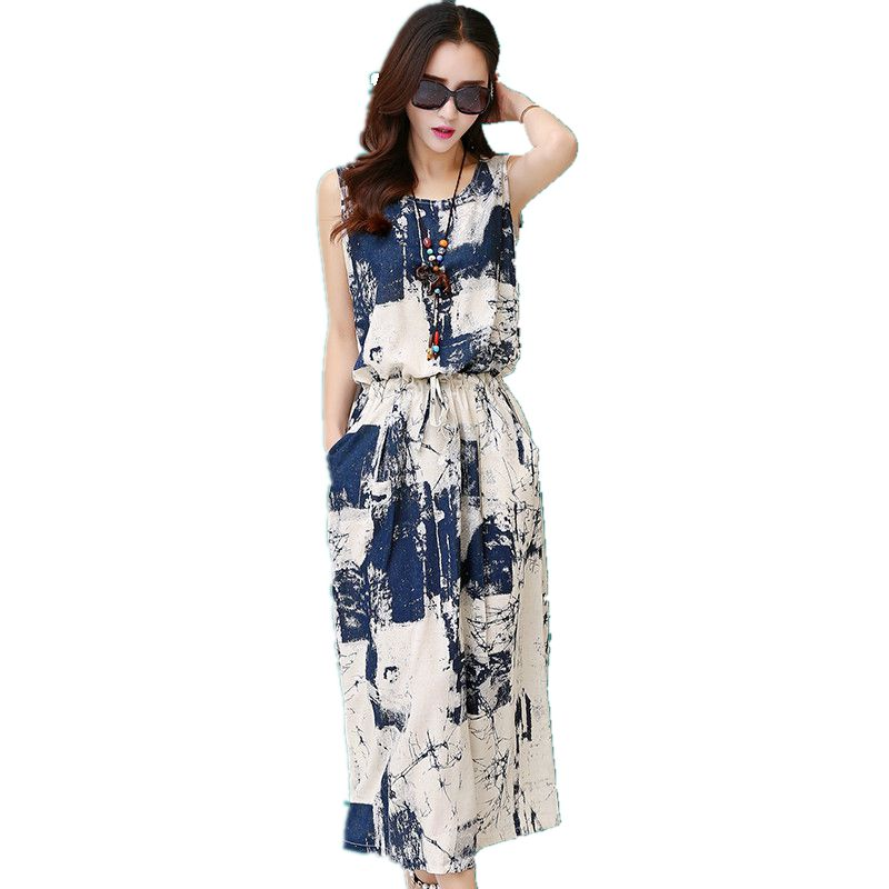 Vintage floral dress female 2015 Summer Women New Cotton maxi Dress casual Linen Sleeveless blue black Long Dress vestido Платье