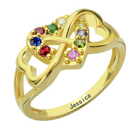 Triple Heart Infinity Ring Personalized Gold Name Ring Infinity Heart Ring Silver Birtthstone Ring For Mother
