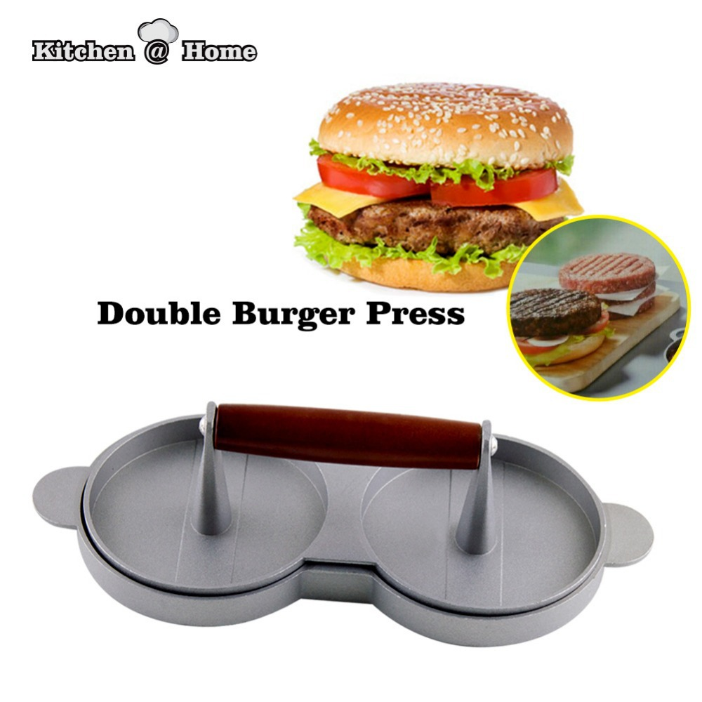 DIY Cakes Patty Maker Aluminum Nonstick Double Burger Press ...