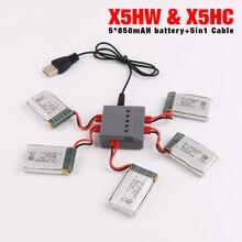 Nueva syma x5hw x5hc drone rc batería 3.7 v 850 mah lipo batería de piezas de repuesto rc quadcopter con 5 in1 cable