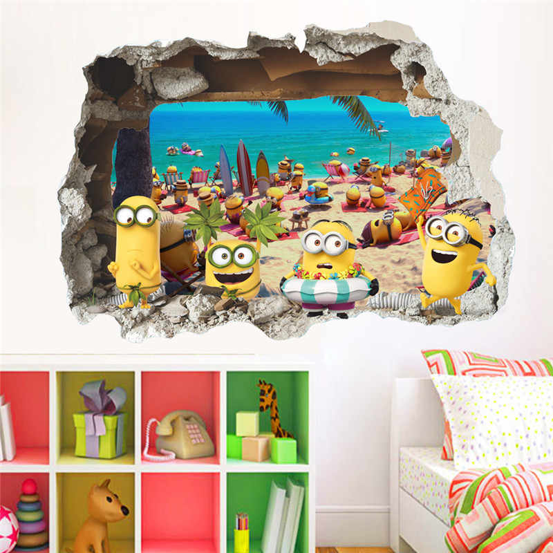 3D Cartoon Minions door Muurstickers kinderkamer decoraties diy home decals window mural art cartoon movie printen posters