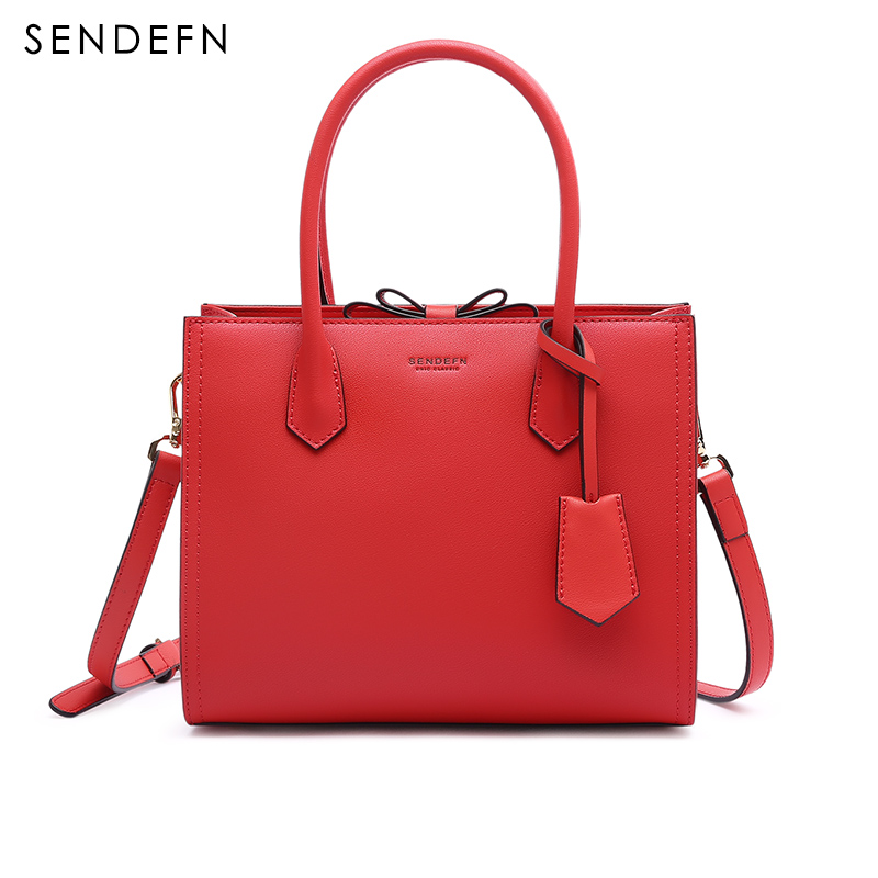 Sendefn Summer Women Leather Handbags Fashion Shoulder Bag Women Quality Women's Bag With Cut Bow Split Leather Women Bag