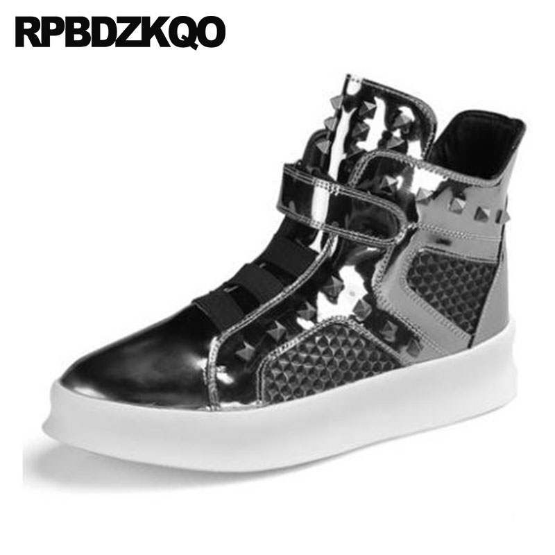 Ankle Trainer Silver Booties Punk Metalic Shoes Stud Rivet Mens Black Patent Leather Boots Sneakers Fashion High Sole Rock Top stud high top flat booties metalic sneakers rock ankle shoes winter men boots with fur brown rivet punk black zipper trainer