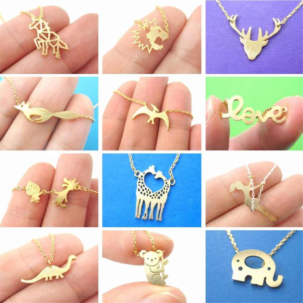 QIAMNI Dinosaur Rabbit Squirrel Penguin Crab Unicorn Bird Deer Owl Fish Dog Cat Animal Necklace Pendants Pet Lover Gift Jewelry