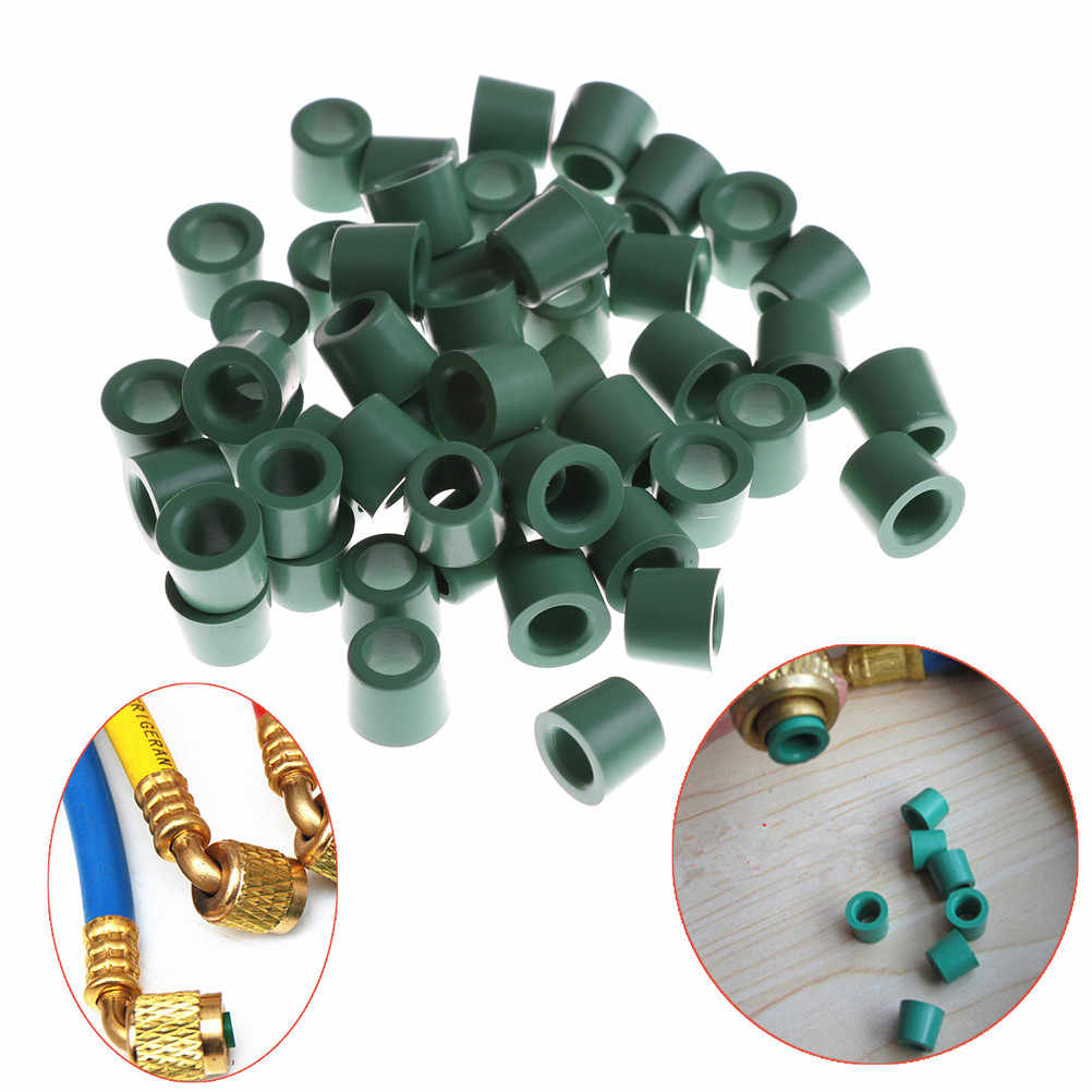 Green 50pcs/lot Air Conditioning 1/4'' Charging Hose 1/4'' Valve Gasket Manifold Repair Seal Kit Replacement Wholesale