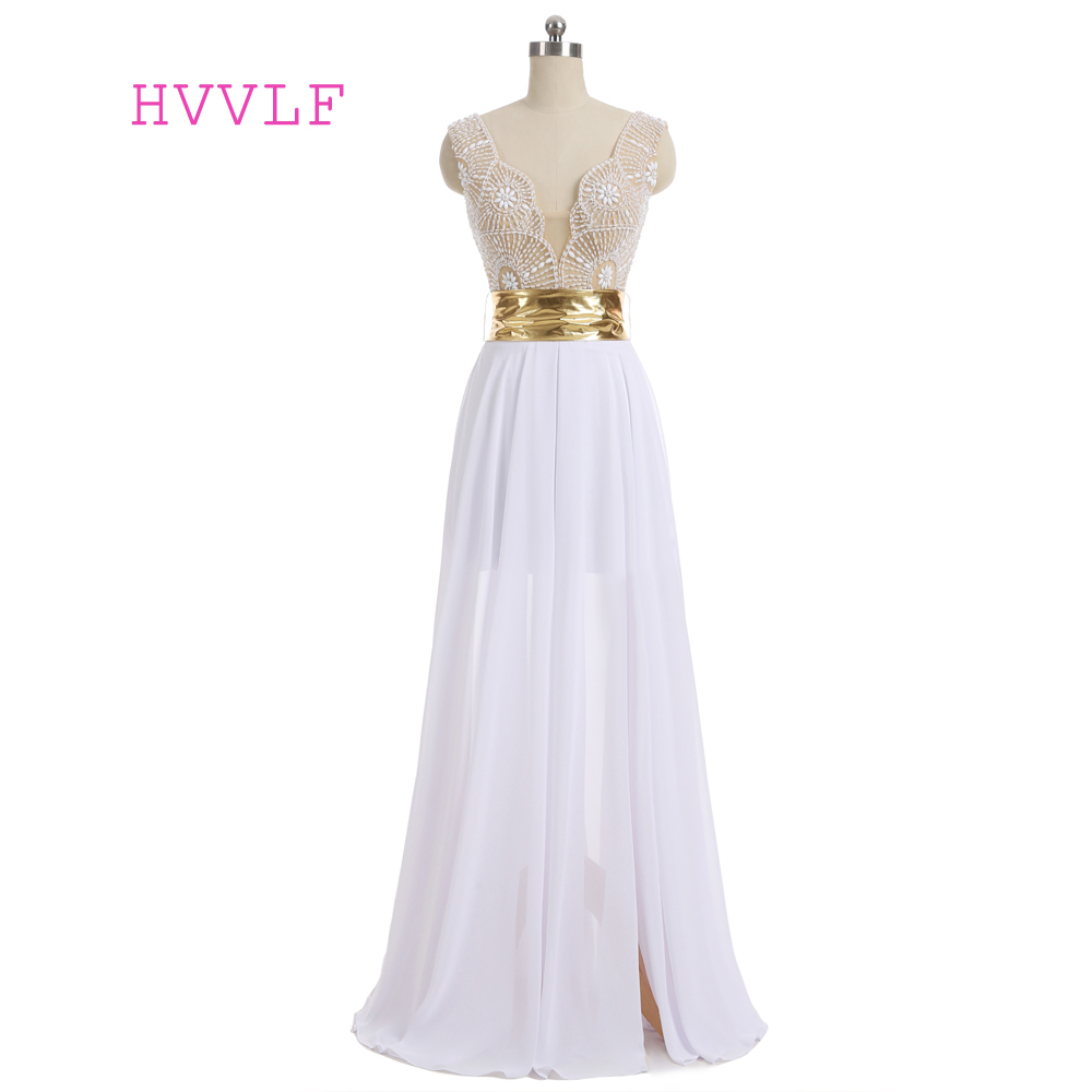 New White 2019   Prom     Dresses   A-line V-neck Cap Sleeves Chiffon Pearls Slit Sexy Long   Prom   Gown Evening   Dresses   Evening Gown