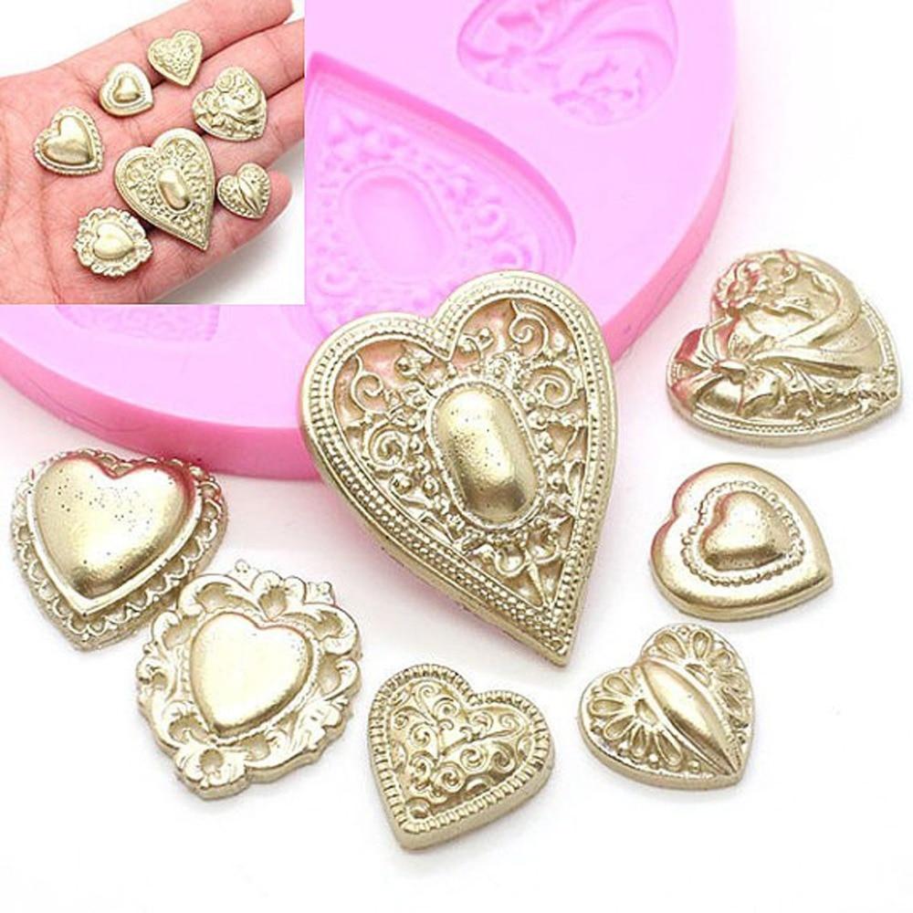 Cuore Diamante Stampi per dolci in silicone Stampo in rilievo Stampo per sapone in argilla Fondente Cupcake Stampo in cioccolato Accessori da cucina XF549