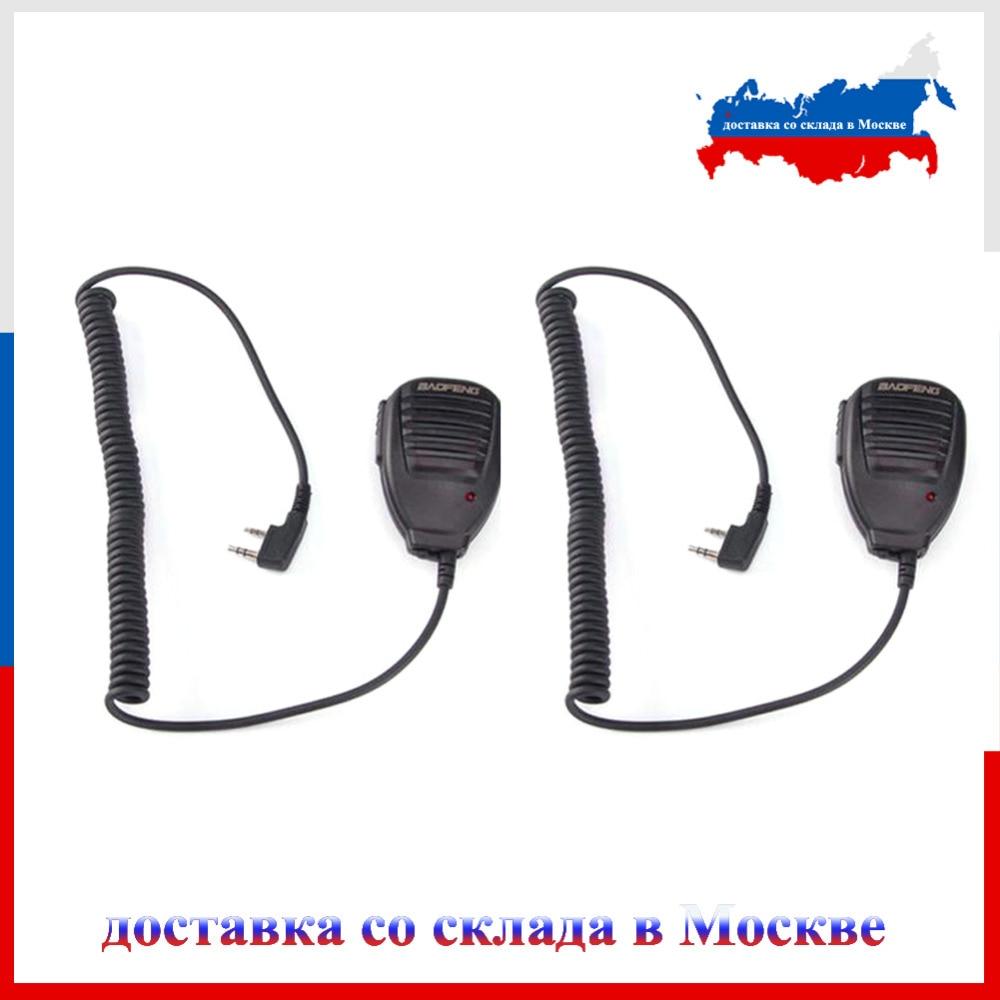 bilder für Versand von moskau!!! 2 stücke Baofeng Lautsprecher Mic BF-H14-K1 Mikrofon für BAOFENG UV-5R BF-888S GT-3 UV-82 Wouxun Walkie Talkie