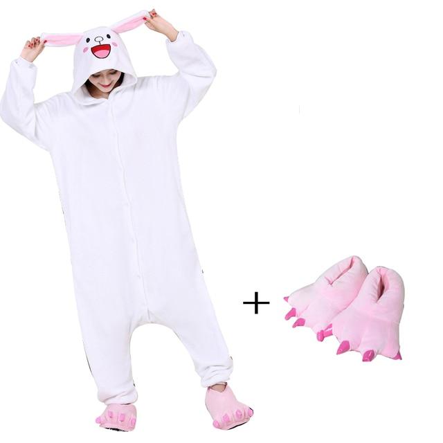 Милые фланель Банни Кони костюм Для женщин кигуруми кролик комбинезоны для  взрослых боди пижамы для шоу 47e73792db1d2