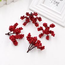 10unids 16 heads Mini Fake Fruit Foam Small Berries Cherry Branch DIY Stamen Artificial Flower for Wedding Home Craft Decoration