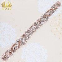 (10 Stuks) groothandel Naai Op Gold Bridal Sash Applique met Crystal Steentjes Decoratieve Trim voor Trouwjurk of Hoofdbanden