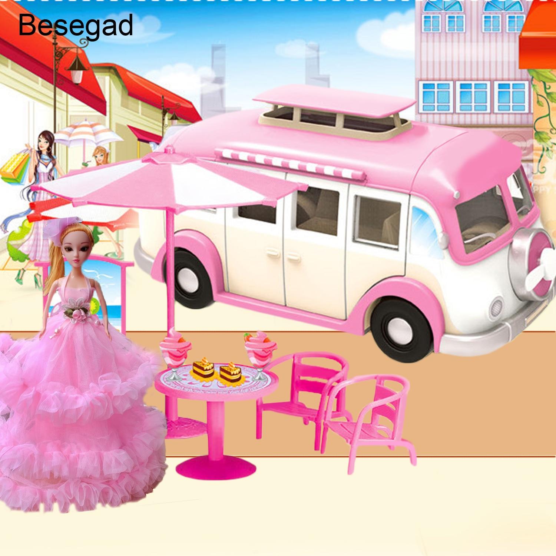 Motor Juguetes Coche Para Simulación Camper Moda Barbie Linda Compatibles Besegad Muñecas Casa wvNnm80