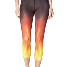 Женские теплые леггинсы для фитнеса с огненным принтом, быстросохнущие леггинсы с высокой талией до середины икры, штаны, брюки ropa mujer