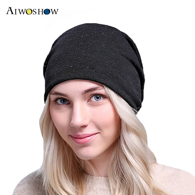 Fashion Headgear Baggy Cap Winter Hat Autumn Slouch Hedging Cap For Women Skullies Hip Hop Beanies Soft Double Layer Female Hat 2017 new lace beanies hats for women skullies baggy cap autumn winter russia designer skullies