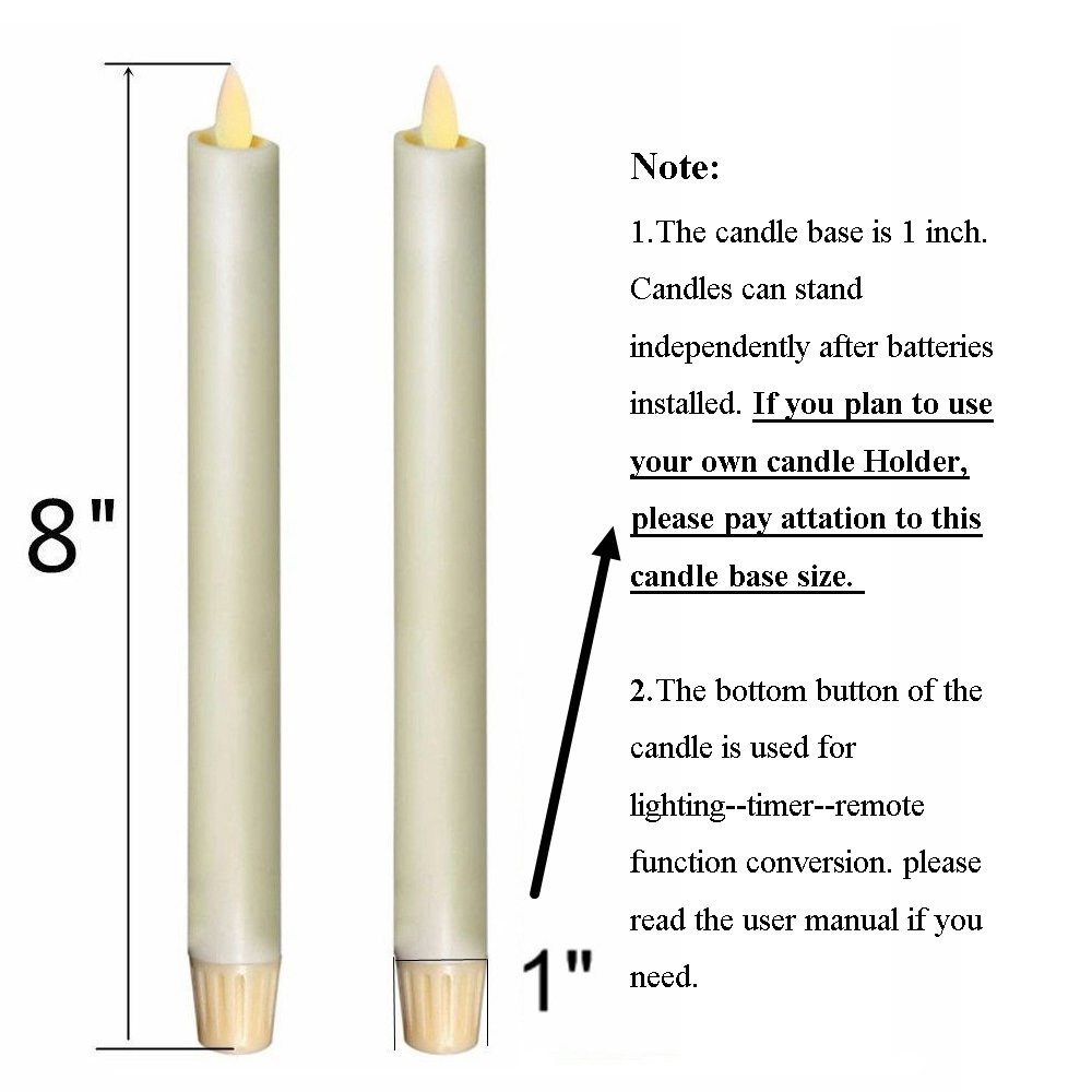 """Купить с кэшбэком Ksperway 8"""" Set of 2 Ivory Unscented Wax Flameless Taper Candles, Battery Operated,Moving Wick,LED Candle with Timer and Remote"""