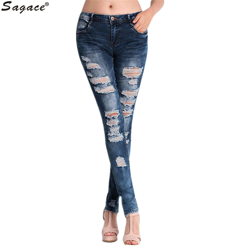 Modern Vintage Women Ripped Hole Distressed Slim Denim Pants Casual Girls Washed Long Jeans Retro Skinny Pencil Trousers Aug17