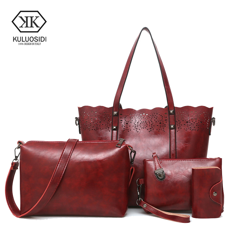 KULUOSIDI Brand Luxury Purse And Handbag Women Composite Bag Hollow Out Female Large Capacity Tote Bag Pu Shoulder Bags 4pcs Set jooz brand luxury belts solid pu leather women handbag 3 pcs composite bags set female shoulder crossbody bag lady purse clutch