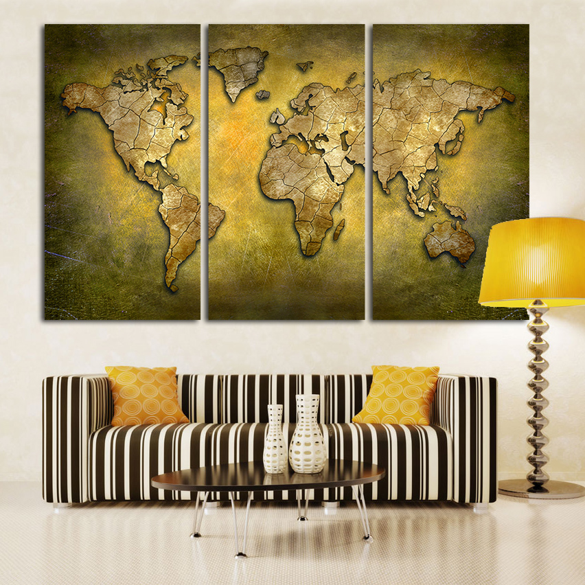 large wall art prints brass color world map 3 panel canvas paintings vintage home decor pictures for living room office no frame