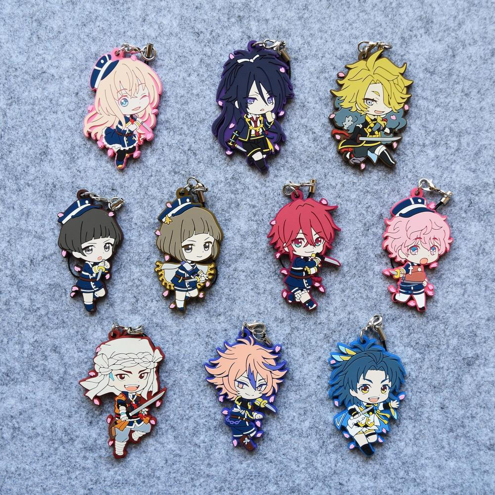 Touken Ranbu Online Game Shinano Toushiro Shishiou Sakura Version Japanese Rubber Keychain touken ranbu online game tachi shishiou anime cosplay wig gold yellow hair