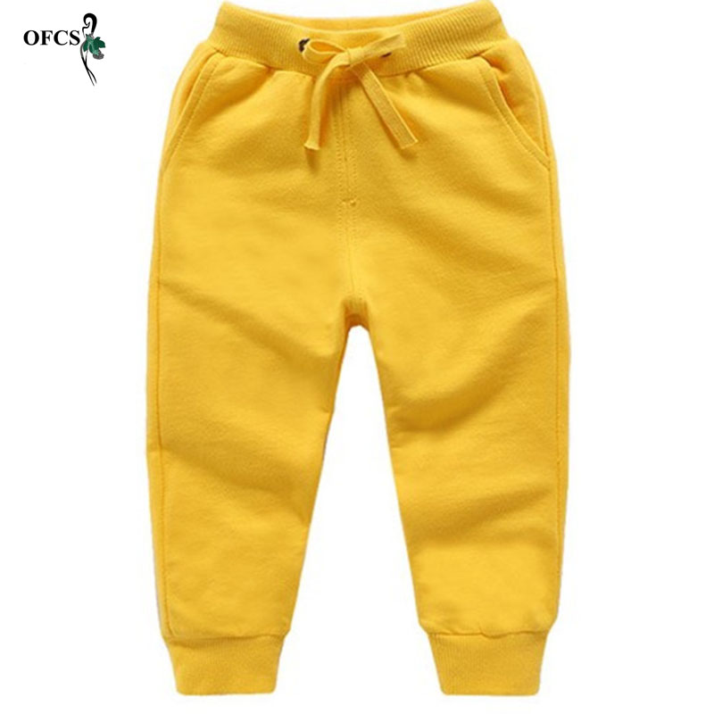 Solid Boys and Girls Leisure Sports Pants