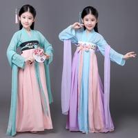 New Girls Costume Classical Dress Tang Dynasty Royal Performance Costume Children Fairy Skirt Hanfu