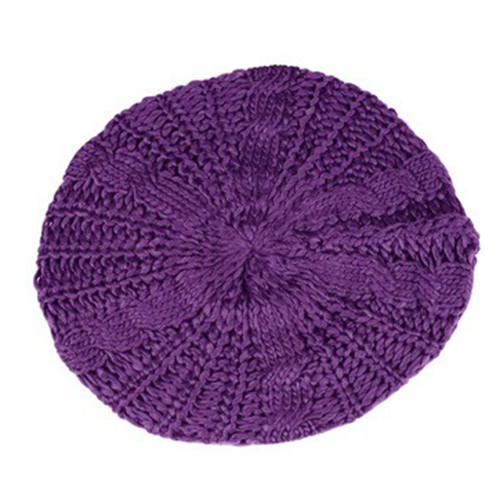 MAKE Hot Beret tresse Crochet Chapeau Bonnet ski des Femmes Style Mode Tricotes Violet