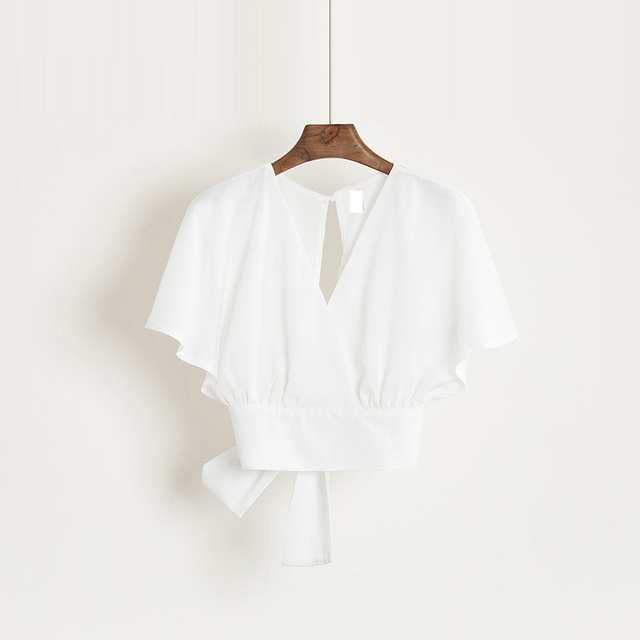 Summer V-neck Shirts Backless Bowtie Lace Up Chiffon Blouses High Waist Short Batwing Sleeved Sexy Tank Tops