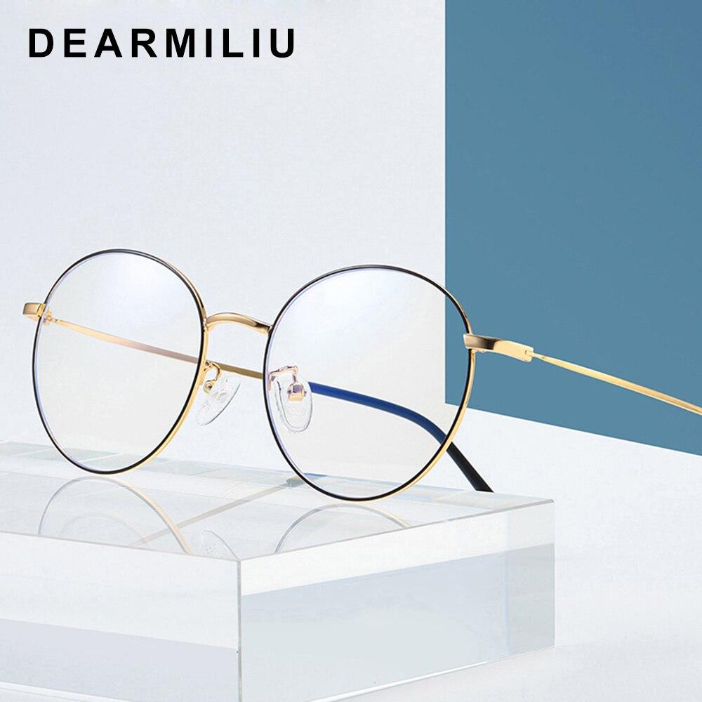 Dearmiliu Oval Rose Gold Frame Anti Blue Light Blocking Glasses Led Computer Reading Radiation-resistant Glasses Gaming Eyewear