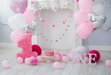 Laeacco Baby 1 Birthday Balloons Cake Fireplace Wooden Boards Latar Belakang Foto Customized Photo Studio Backdrops Fotografi
