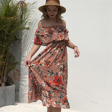 AliExpress 2019 summer new word shoulder wrapped chest ruffled chiffon print large swing dress stitching dress все цены