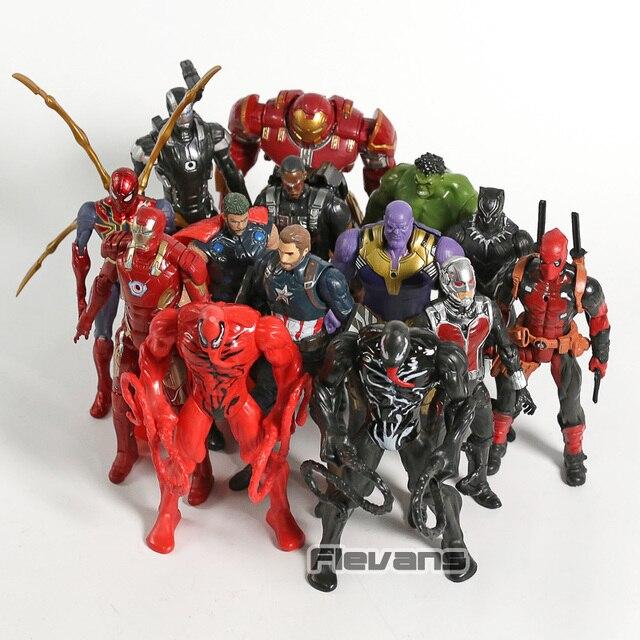 Vingadores Hulkbuster Hulk Venom Carnificina Máquina de Guerra Homem De Ferro Thor Deadpool Falcon Thanos Figura de Ação Do Homem Aranha Brinquedos 14 pçs/set