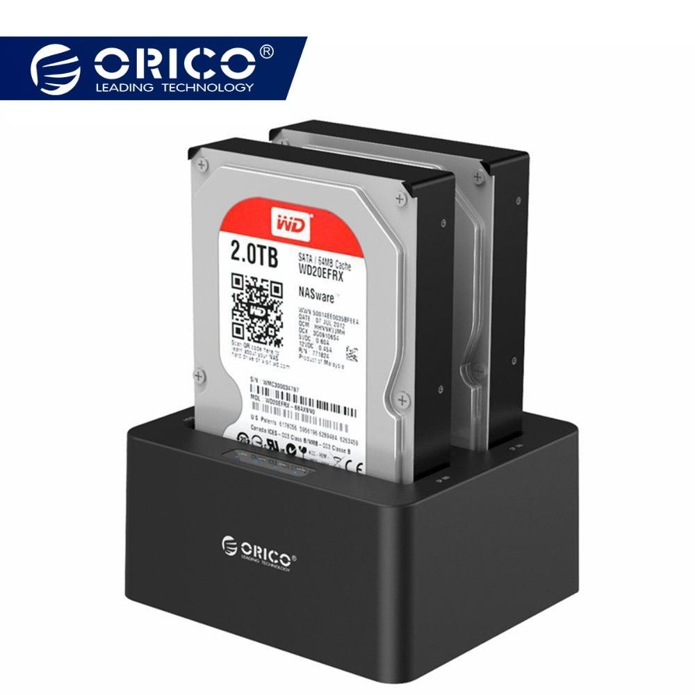 ORICO 2-bay disque dur externe Station D'accueil USB3.0 à SATA 2.5 3.5 dans avec Hors Ligne Clone Support UASP Protocole 16 TB 6629US3