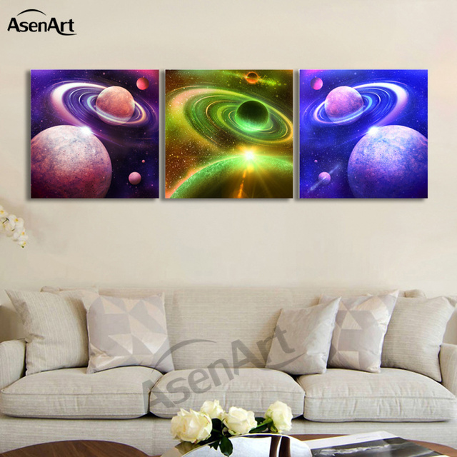 Buy 3 piece picture outer space amazing for Outer space home decor