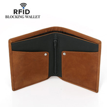 Fashion 100% Genuine Leather Wallet Short Bifold Men Casual Soild Wallets With Coin Pocket Purses Male