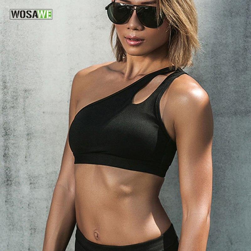 WOSAWE Solid Sports Bra Women sport bra top Fitness Yoga Bras One Shoulder Gym Training  ...