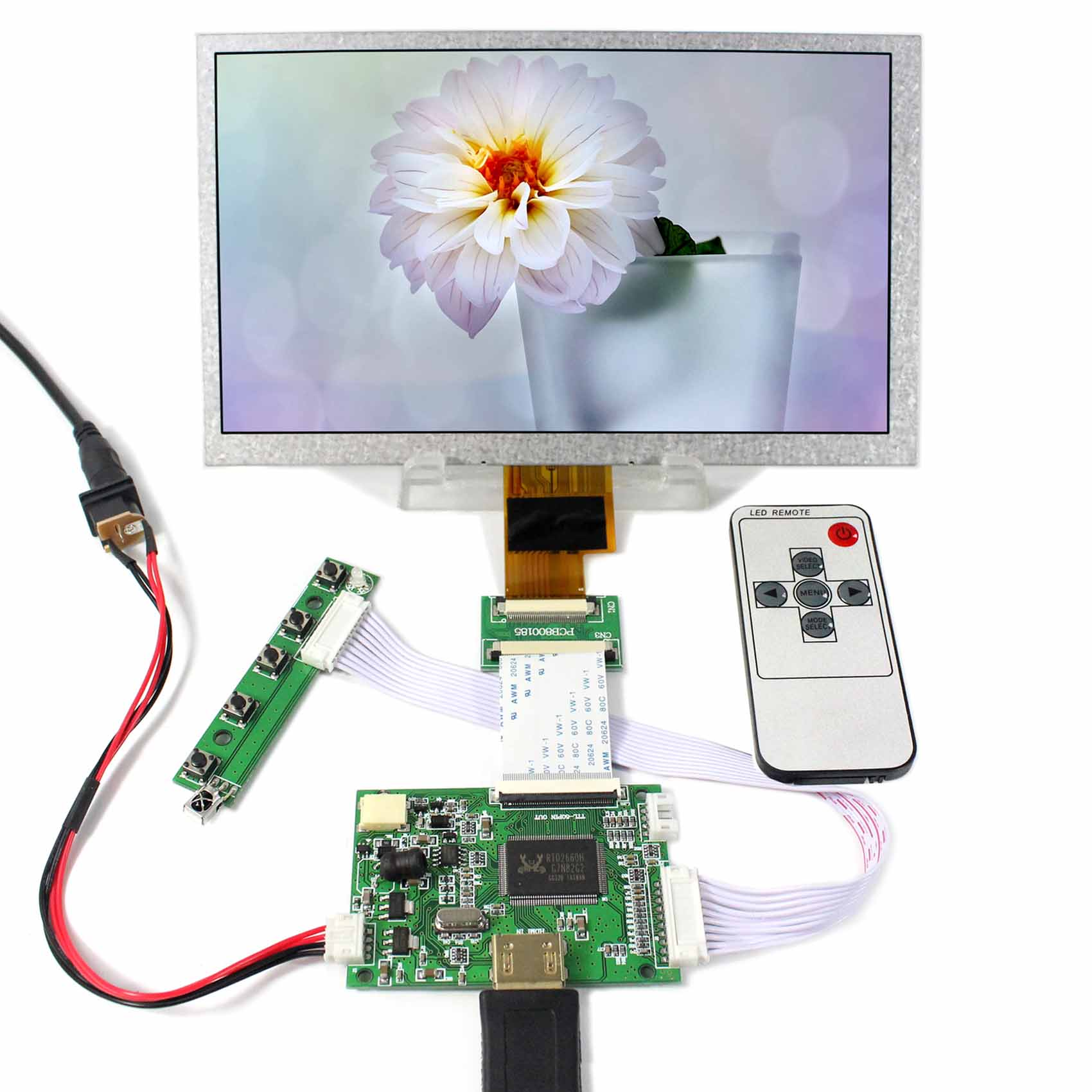 HDMI LCD Controller Board+8inch ZJ080NA-08A 1024x600 LCD Screen