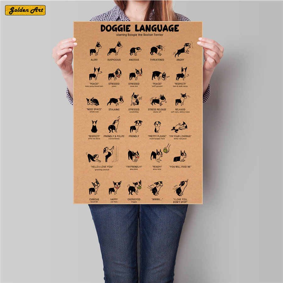 DOG Doggle expression vintage Kraft paper poster Retro bar cafe pet store decoration home painting 45.5x31.5cm
