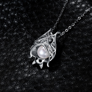 Image 3 - JPalace Bat Created Sapphire Pearl Pendant Necklace 925 Sterling Silver Gemstone Choker Statement Necklace Women No Chain