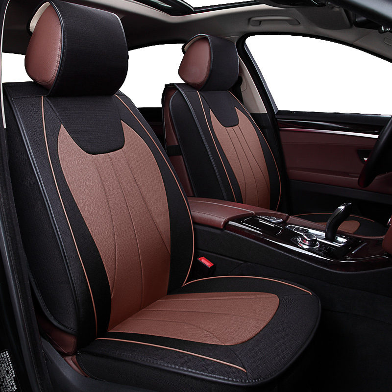 KOKOLOLEE Flax Car Seat Covers For Borgward BX5 BX7 ford focus 2 peugeot 206 307 bmw e46 vw passat b5 lada granta car-styling pu leather automotive universal car seat covers t shit fit seat cover accessories for kia aio ford focus 2 lada granta toyota