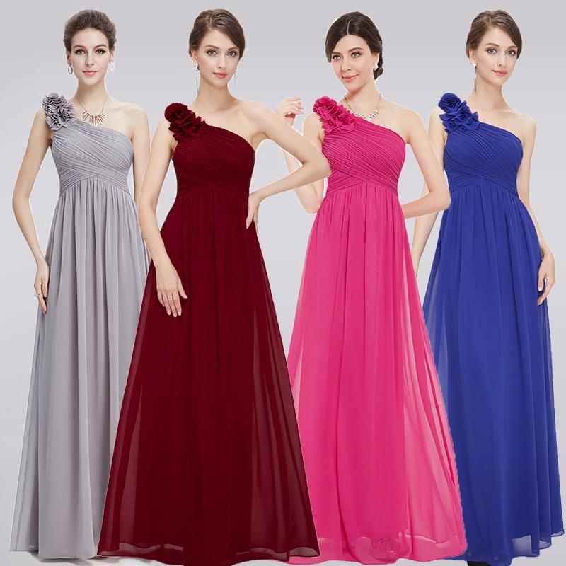 Plus Size Burgundy Bridesmaid Dresses Long 2018 A Line Sleeveless Chiffon One Shoulder Simple
