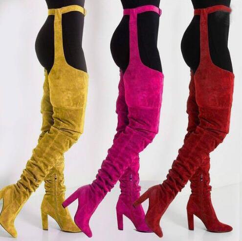 Nouveau 2019 solide daim femmes sur genou longues bottes bout pointu dames ceinture cuisse haute bottes grande taille épais talons hauts bottes longues