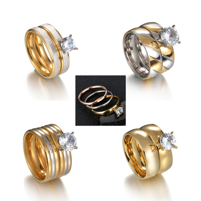 MeMolissa Romantic Double Rings Set Ring For Women Ladies Lover Party Wedding Fashion Rhinestone Rings Clear Crystal Rings