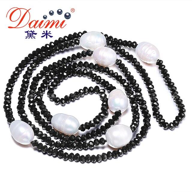 Даими 11-12 мм натуральный большой жемчужины риса и 4 мм Crystal ожерелье Белый Черный ювелирные изделия 90 см длинные жемчужное ожерелье