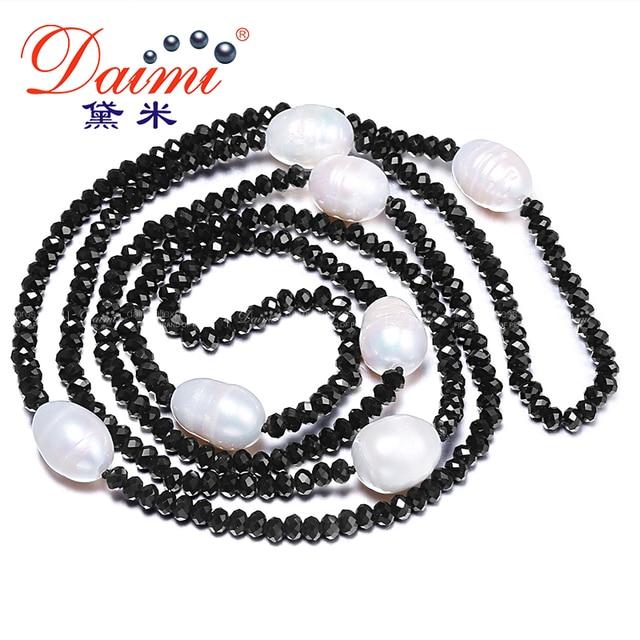 Даими 11-12 мм натуральный большой жемчужины риса и 4 мм кристалл Цепочки и ожерелья белый черный ювелирные изделия 90 см длинные жемчуг Цепочки и ожерелья
